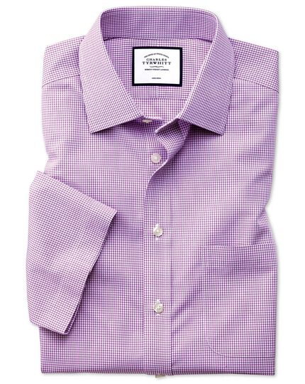 Slim fit non-iron natural cool short sleeve pink check shirt
