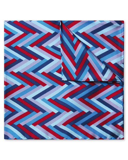 Blue and red multi chevron print pocket square