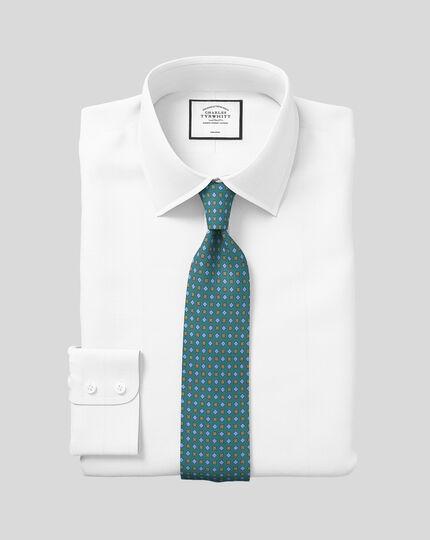Classic Collar Non-Iron Herringbone Shirt  - White