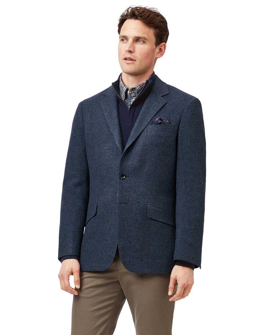 Classic fit blue semi plain textured wool jacket