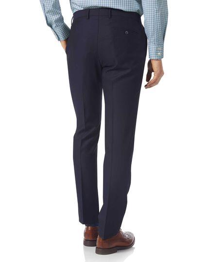 Navy slim fit textured Italian suit pants