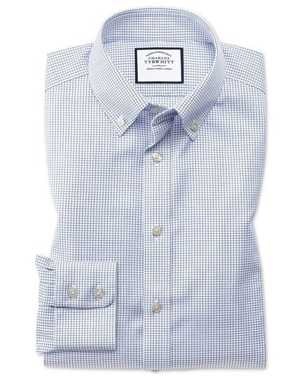 Extra slim fit button-down non-iron twill mini grid check navy shirt