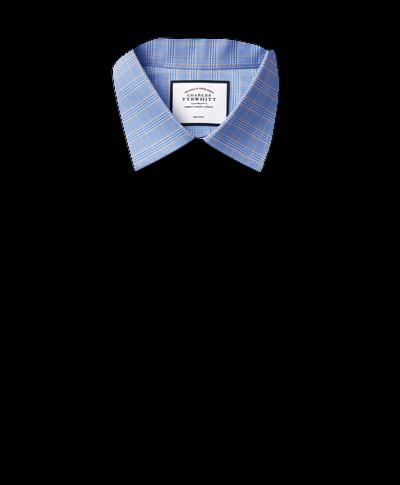 Bügelfreies Classic Fit Hemd mit Prince-of-Wales-Karos in Blau und Gold