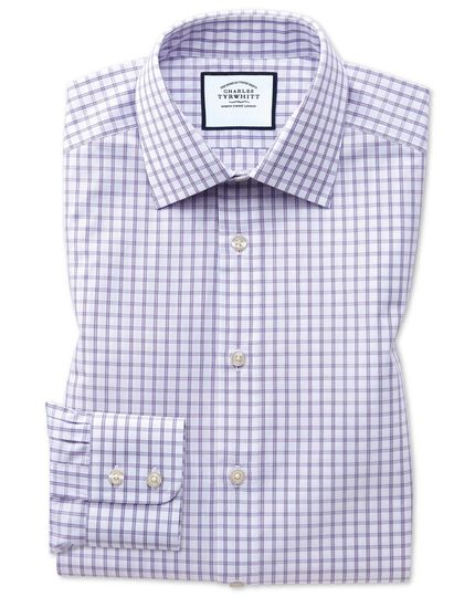 Slim fit purple windowpane check shirt