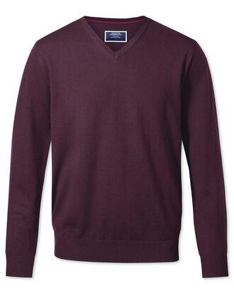 Wine merino wool v-neck sweater