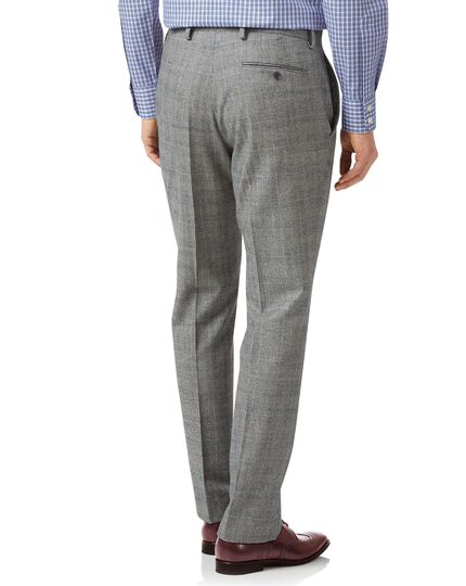 Classic Fit Business-Hose aus Flanell mit Prince-of-Wales-Karos in Grau