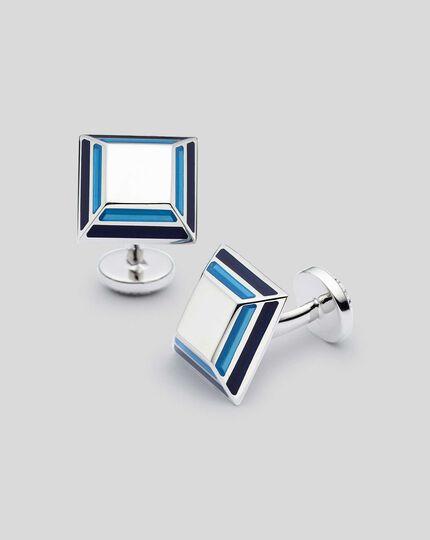 Emaille-Manschettenknöpfe mit schrägem Quadrat-Design - Blau