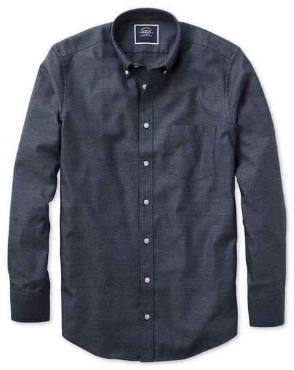 Classic fit dark navy plain soft washed non-iron twill shirt