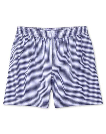 Blue and white check swim shorts