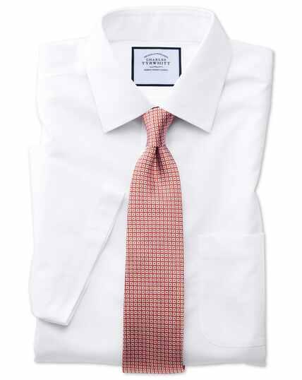 Classic fit white non-iron poplin short sleeve shirt