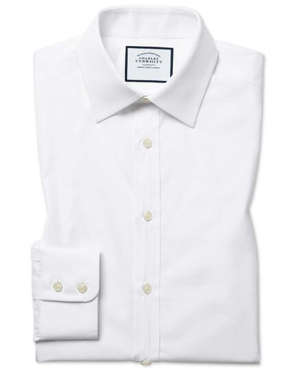 Extra slim fit white Egyptian cotton poplin shirt