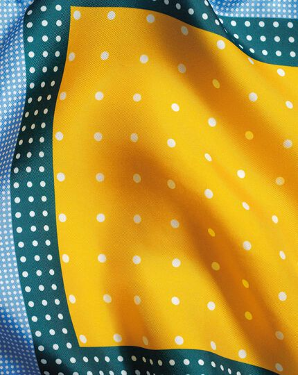 Multi Spot Pocket Square - Blue & Gold