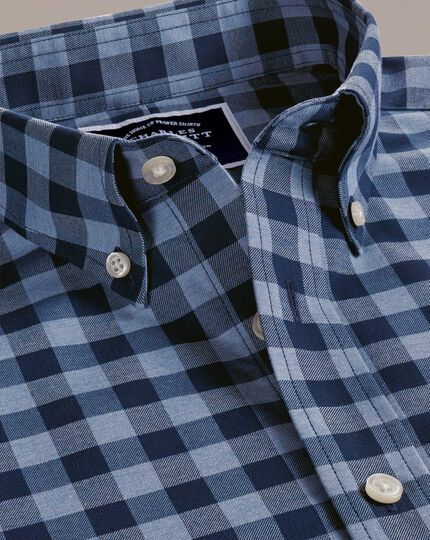 Extra slim fit navy gingham non-iron twill shirt