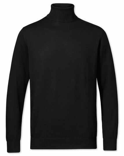 Pull noir en laine mérinos avec col roulé