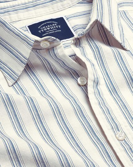 Cotton Linen Short Sleeve Stripe Shirt - White & Blue
