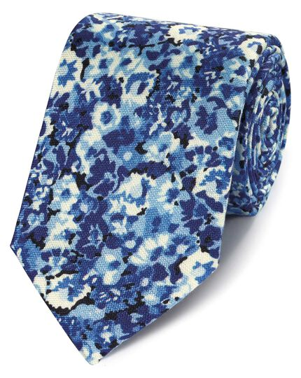 Blue floral cotton silk printed classic tie