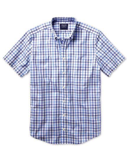 Classic fit non-iron blue large check short sleeve shirt