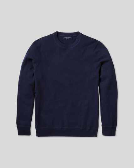 Merino Cashmere Crew Neck Sweater - Navy