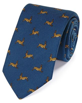 Royal blue wool rabbit print English luxury tie