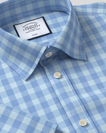 Bügelfreies Tyrwhitt Cool Popeline-Kurzarmhemd mit Kent Kragen und Karos - Himmelblau & Blau