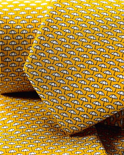 Umbrella Silk Print Tie - Gold