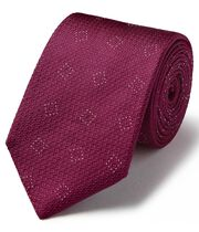 Burgundy silk textured square classic tie