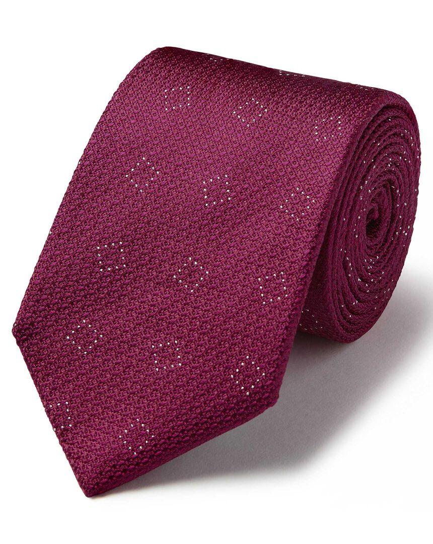 Burgundy silk textured square classic tie
