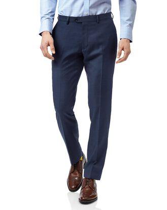 Blue slim fit twill business suit pants