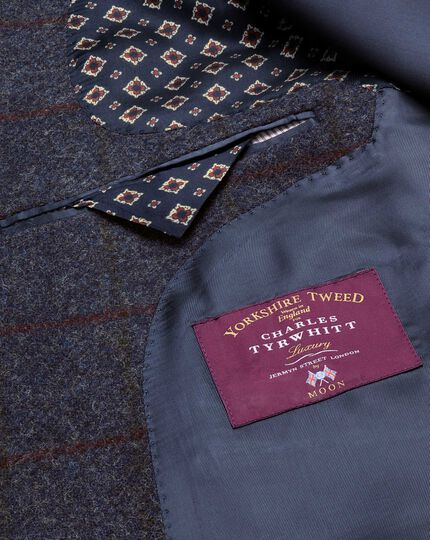 Slim Fit Sakko aus englischem Tweed in Marineblau mit Karos