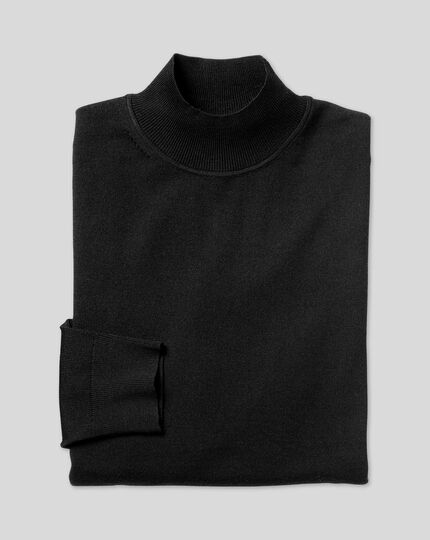 Merino Turtle Neck Jumper - Black