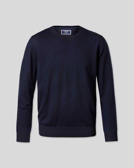Pull en laine mérinos à col rond - Bleu marine