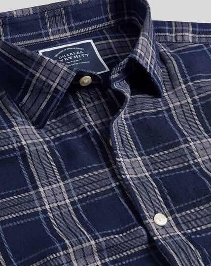 Classic Collar Check Shirt - Navy & Grey