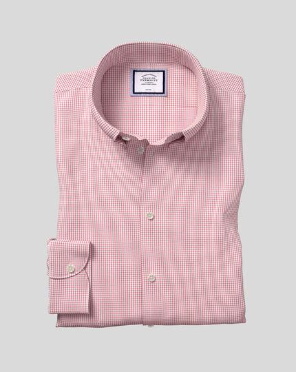 Chemise à carreaux et col boutonné sans repassage - Rouge