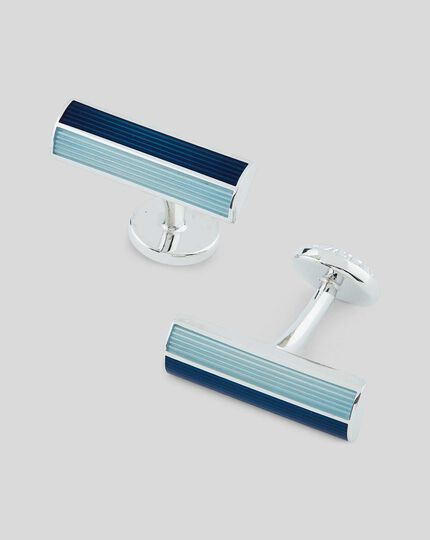Enamel Rectangle Bar Cufflink - Blue
