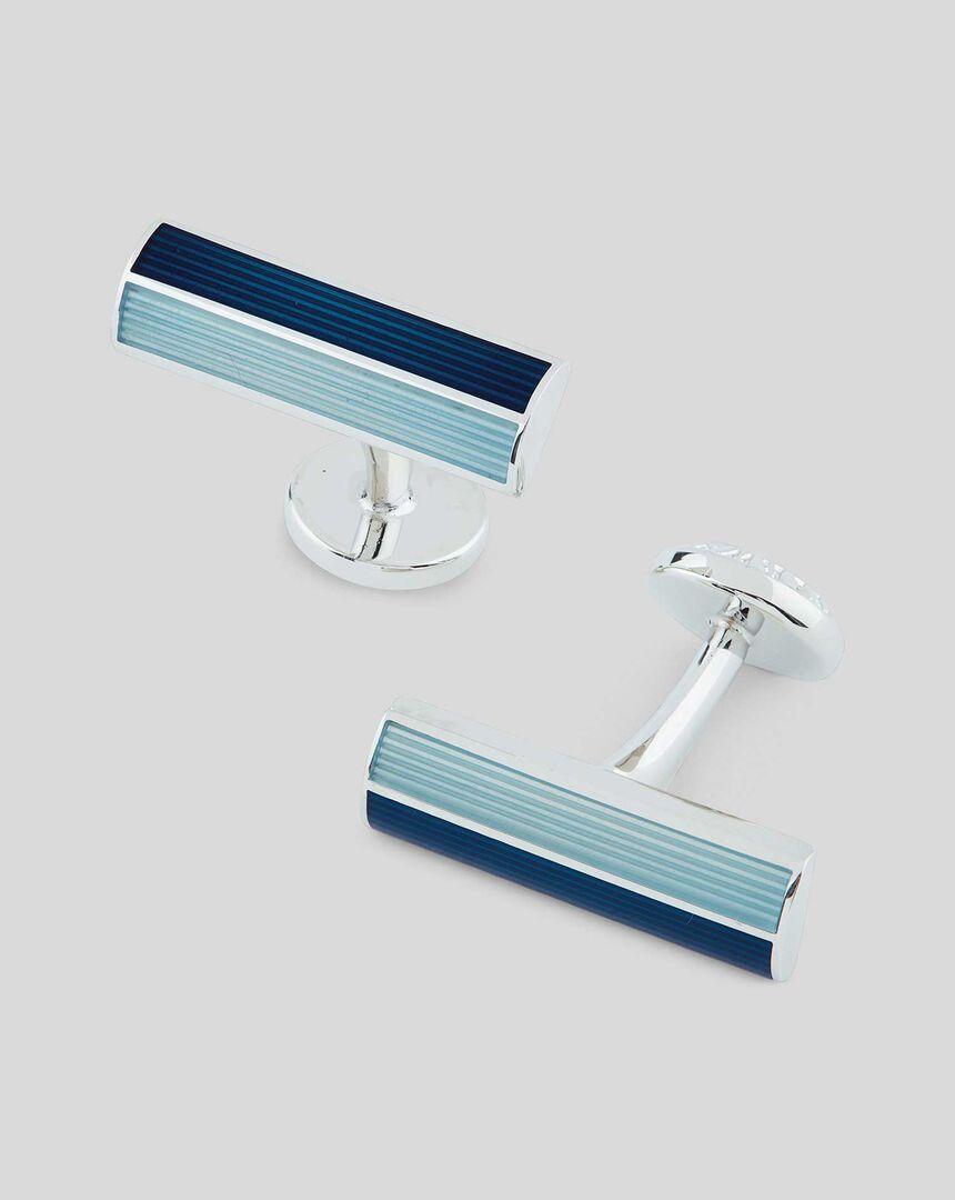 Enamel Rectangle Bar Cufflink - Blue