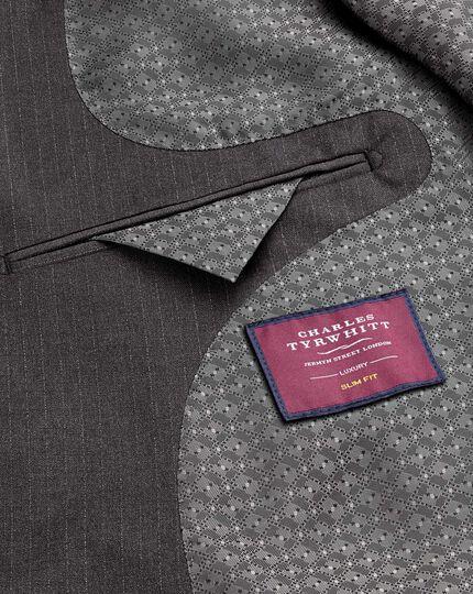 Grey slim fit Italian stripe suit jacket