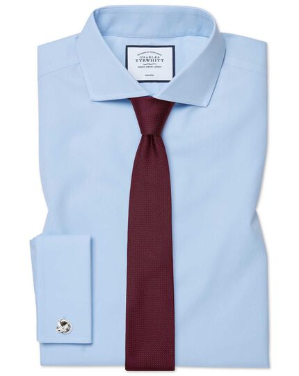 Extra slim fit sky blue non-iron twill cutaway collar shirt