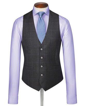 Charcoal sharkskin travel suit vest