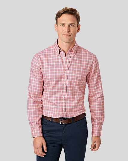 Button-Down Collar Non-Iron Twill Check Shirt - Pink & White