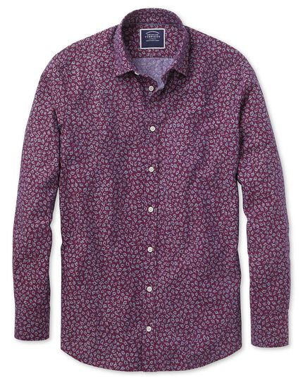 Slim fit leaf print berry chambray shirt