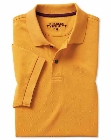 Bright yellow plain short sleeve cotton pique polo