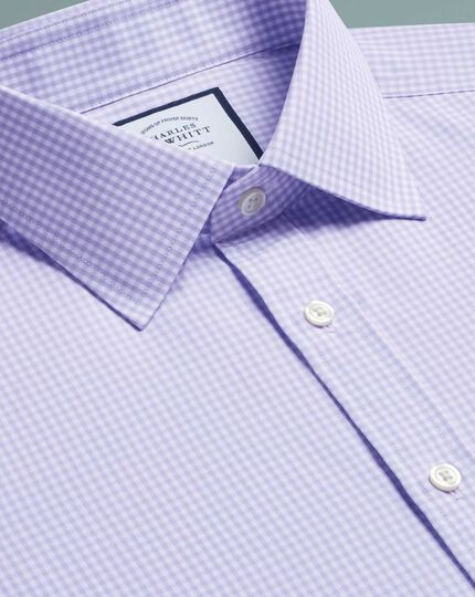 Slim fit small gingham lilac shirt