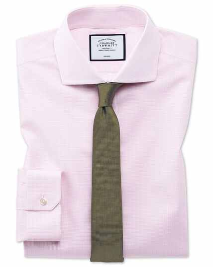Super slim fit non-iron 4-way stretch pink check shirt