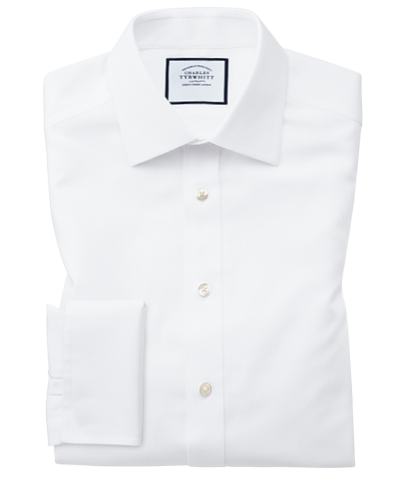 Extra slim fit non-iron white arrow weave shirt