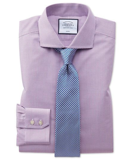 Slim fit non-iron natural cool pink check shirt