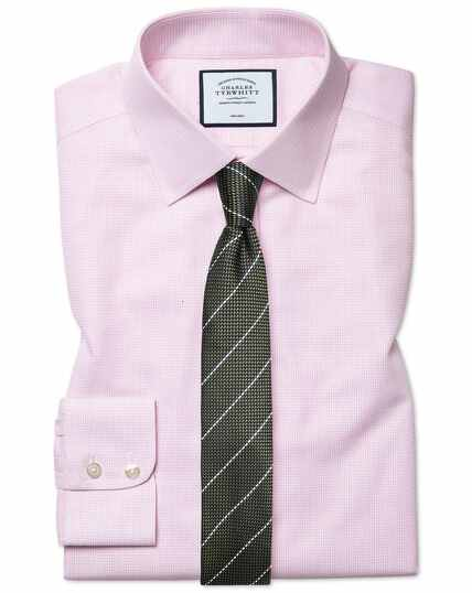 Extra slim fit non-iron dash weave pink shirt