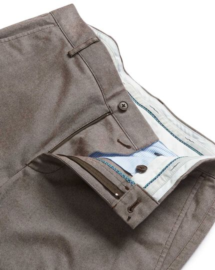 Brown brushed twill stretch pants