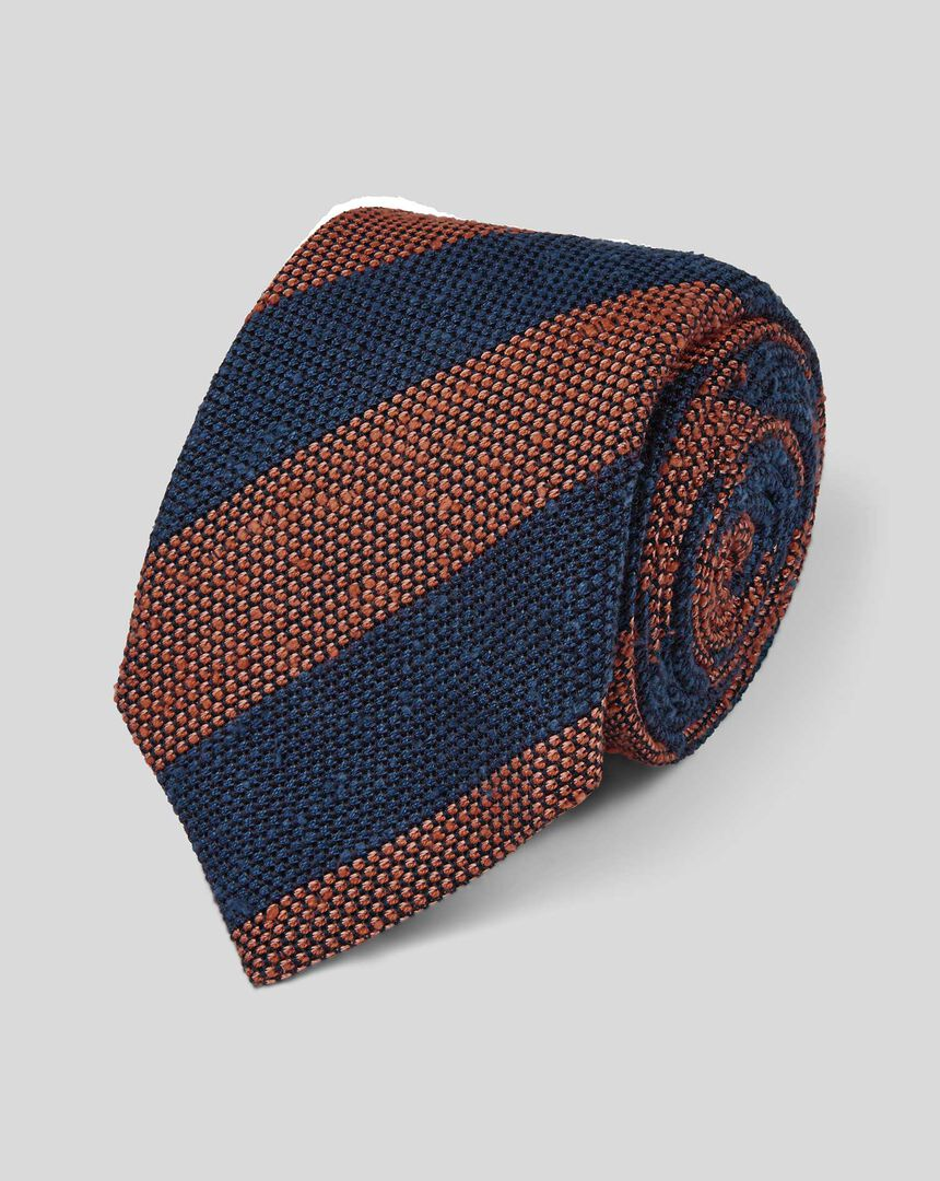 Silk Top Drawer Grenadine Stripe Italian Luxury Tie - Navy & Orange