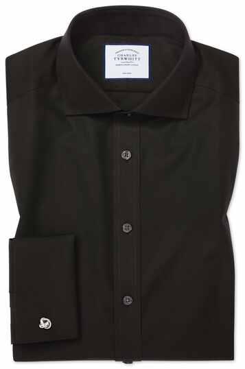 Zwart, strijkvrij popeline overhemd met extra slanke pasvorm