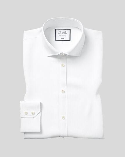 Spread Collar Non-Iron Twill Shirt - White